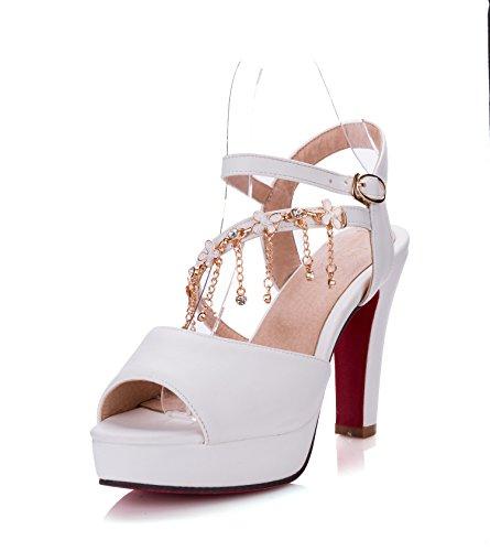 High Heel Schuhe, grob ferse schuhe, Fisch Mund spitzen, Sandalen für Frauen, weiß, 43