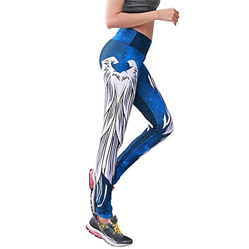 Eaylis Stern-Himmel-Himmel-Feder-Druck der Frauen dünnes Spleißen Yun Yoga-Spiel-Hosen dünne Trend-Hosen