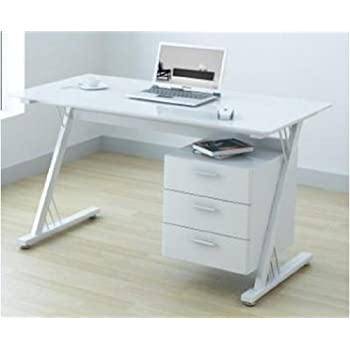 Luxor Gloss WorkstationDesk with Hidden Drawer White Amazonco
