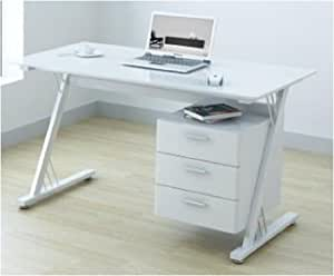 U-Office Glass and Gloss White Computer Office Desk Workstation
