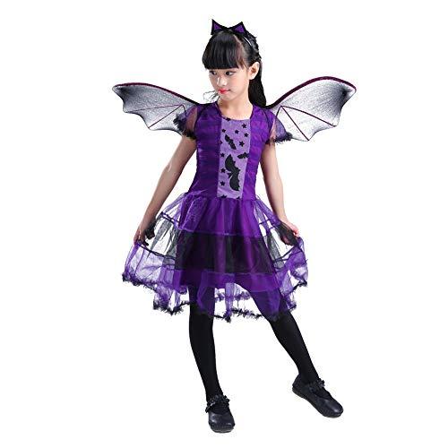 (Kinder Halloween mit Kapuze Mantel Mädchen Hexe und Kinder Halloween Cosplay Partei Kostüm Kostüme (110/5 Jahre, Kleid))