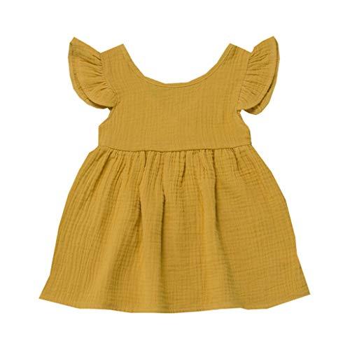 Mädchen Kleid Babykleidung, YanHoo Sommer Kleinkind Baby Mädchen Fliegenhülse Festes Kleid Kleider Kinder Flying Sleeve Einfarbig Rockkleid Schwanz ()