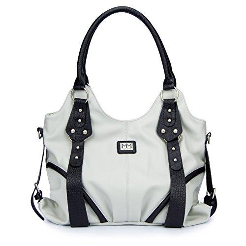 manumar-damen-handtasche-bella-henkeltasche-grau-schwarz-36x25x11-cm