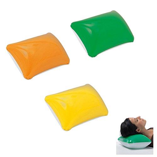 Preisvergleich Produktbild 3x aufblasbares Kissen / Strandkissen / Farbe: je 1x gelb, grün, orange