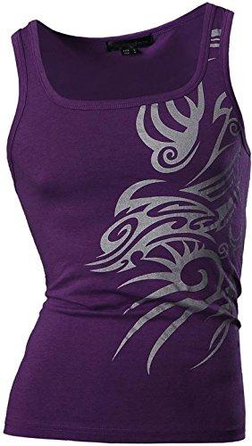 jeansian Uomo Camicie Sport Senza Maniche Camicia Gilet Moda Men Canotta Casuale Slim Fashion T-Shirts Vest U001 U001_Purple