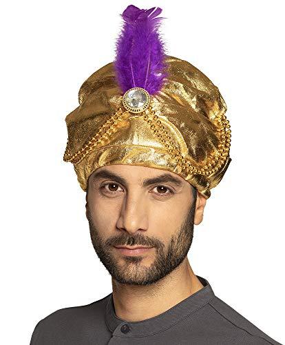 Turban Gold mit Feder für Sultan Alibaba Flaschengeist Tausendundeine Nacht Dschinn 1001 - Der Geist Kostüm