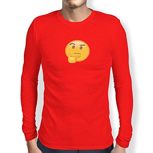 TEXLAB - Thinking Emoji - Herren Langarm T-Shirt Rot