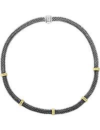 18ct Oro Amarillo Collar Oxidado Plata 6mm con soporte de tejido con cierre de barril–46centímetros