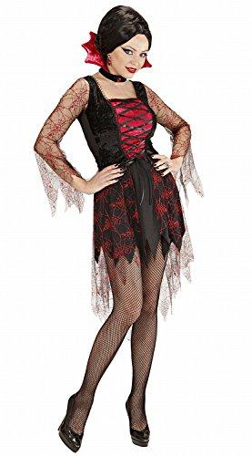 Widmann 00254 - Erwachsenenkostüm Spiderweb Vampiria, Kleid und Kragen mit Juwel, Gröߟe (Ideen Vampirin Kostüm)