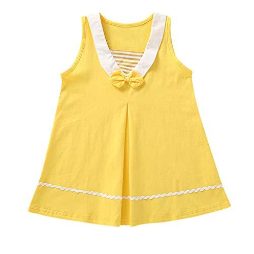 Livoral Baby Madchen Sommer Kleidung Kleinkind-Kind-Baby-Fliegen-gestreifter zufälliger Prinzessin Dress Beach Skirt(Gelb,130)
