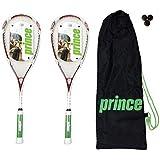 2 x Prince Air TT Lite 115 Squash Rackets + 3 Squash Balls RRP £330