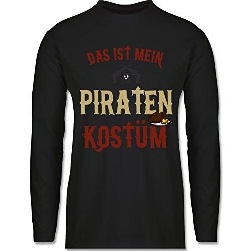 Shirtracer Karneval & Fasching - Das ist Mein Piraten Kostüm - Herren Langarmshirt Schwarz