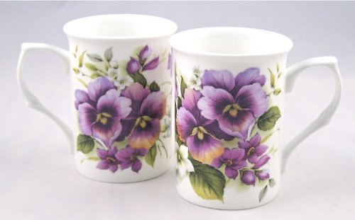 Pansy Chintz (Pair Fine English Bone China Mugs Pansy Wrap Chintz by Adderley, England)