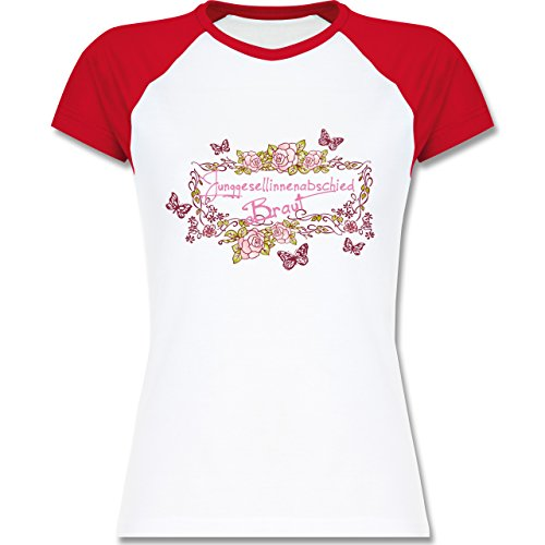 JGA Junggesellinnenabschied - Braut Schmetterlinge Blumen - zweifarbiges Baseballshirt / Raglan T-Shirt für Damen Weiß/Rot