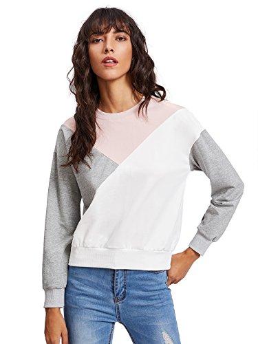 ROMWE Damen Sweatshirt mit Kontrastfarbigen Details Kurz Pullover Rosa