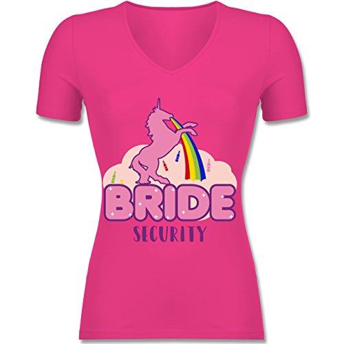 Shirtracer JGA Junggesellinnenabschied - JGA Bride Security Einhorn - Tailliertes T-Shirt mit V-Ausschnitt für Frauen Fuchsia