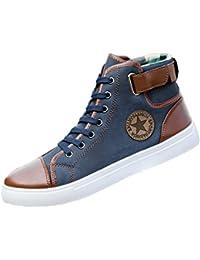 Reaso Homme Femmes Espadrilles Chaussures de Sport Chaussures en Toile Casual Chaussures Plates Lacer Bottines Chaussures Décontractée Haut Chaussures de Travail
