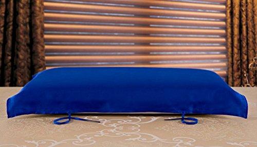 Eazyhurry 100% seta di gelso cuscino asciugamano colore solido rettangolo decorativo copertura del cuscino 73,7x 51,8cm Light Purple Royal Blue