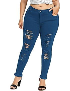 YTJH Pantalones Vaqueros Mujer Jeans Push Up Rotos Mallas Sexy Leggings Medio Cintura Lápiz Pantalones Slim Pants...