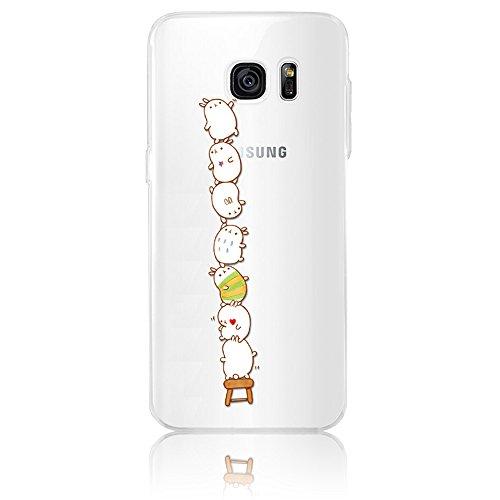 Sunroyal® Custodia per Samsung Galaxy S7 Edge G9350 SM-G935 Protettiva Cover Universale di Ultra Sottile TPU Morbido Antigraffio Trasparente Cristallo Chiaro e Shock-Absorption Bumper Case Posteriore Modello 06