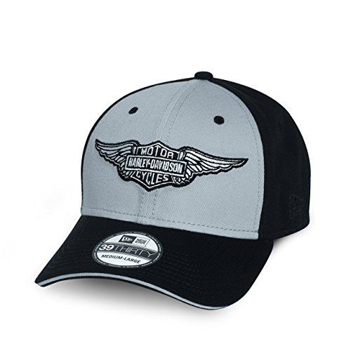 Harley-Davidson Bar & Shield Logo with Wings 39THIRTY Baseball Cap 99401-15VM Herren Hat, schwarz, L