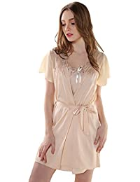 Aivtalk Bata Ropa de Dormir Batón Pijama Vestido de Cinturón Lencería con Bordado Ropa de Noche para Mujer Chica Talla M/L/XL 2 Colores a Elegir