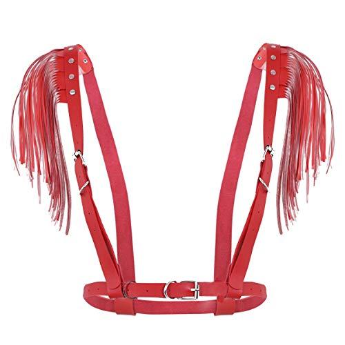 CHICTRY Damen Punk Kostüm Gothic Körpergeschirr Wetlook Brust Harness PU Leder Brustgurte Schultergurte mit Quaste Geschirre Tops Schwarz Rot Rot Einheitsgröße