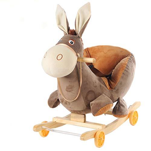 Dondolo bambini,toddler rocker peluche a dondolo per bebè 6 mesi 7 anni animal rocking kid rocker cavallo a dondolo in legno,brown