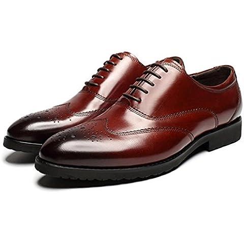 WZG Nuevos zapatos hechos a mano italiana británica tallado barroco hombres jóvenes se visten zapatos de boda zapatos de hombre , wine red , 44