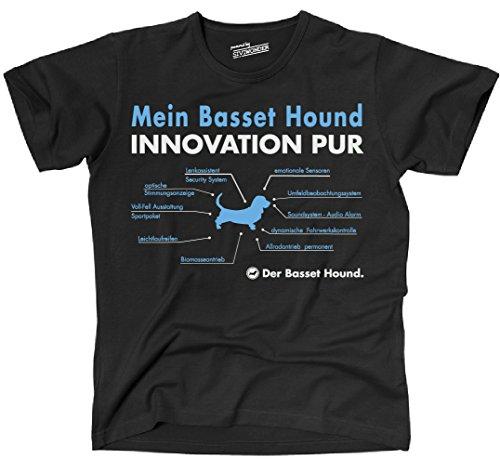 Basset-hound-shirt (Siviwonder Unisex T-Shirt INNOVATION BASSET HOUND TEILE LISTE Hunde lustig fun schwarz L)