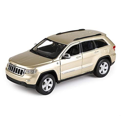 Qivor Legierung 1/24 Jeep Grand Cherokee Geländewagen Diecast Modellauto Dekoration Mit Ton Und Licht - Simulation Automodell Spielzeug, Gold, Groß