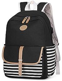 S-ZONE French Breton Nautical Striped Backpack Rucksack Marine Sailor Navy Stripy School Bags for Teenager Girls