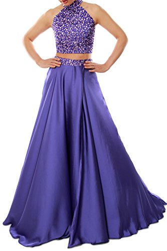 MACloth Women Two Piece Prom Dress High Neck Chiffon Long Formal Evening Gown Teal