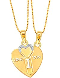Vighnaharta Lovers Heart & Key CZ Gold And Rhodium Plated Alloy Pendant With Chain For Girls And Women - [VFJ1220PG]