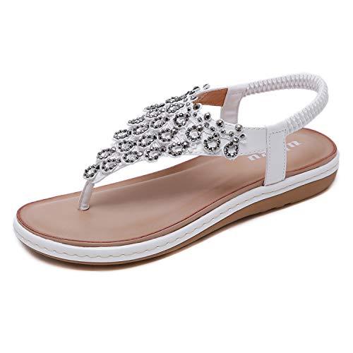 Schwarze Und Weiße Flip Flops (Sandalen Damen Sommer Flip Flops Bohemian Flach Zehentrenner mit Strass Größe 36-42)