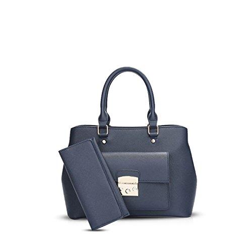 NICOLE&DORIS Elegant Stilvoll Damen Handtaschen Tote Umhängetasche Crossbody Bag Schultertaschen Henkeltaschen 2PCS Tasche Wasserdicht PU Blau Blau