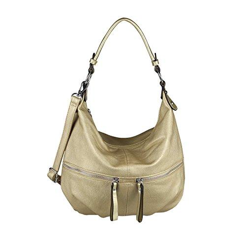OBC Damen Tasche HANDTASCHE Shopper METALLIC Hobo-Bag Henkeltasche Schultertasche Umhängetasche CrossOver Tote-Bag Freizeit Silber Gold