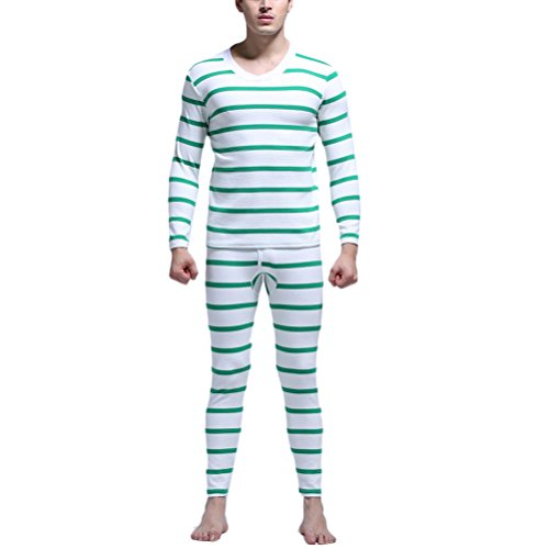 Zhhlinyuan gute Qualität Mens Stripe Thermal Underwear Set Long Sleeve Shirt & Long Johns Nightwear Pajama Set