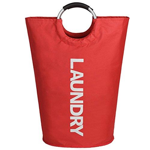 IHOMAGIC Hochleistungs-zusammenklappbarer Wäscherei-Beutel mit Aluminiumlegierung-Handgriffen und haltbarer Segeltuch, rot