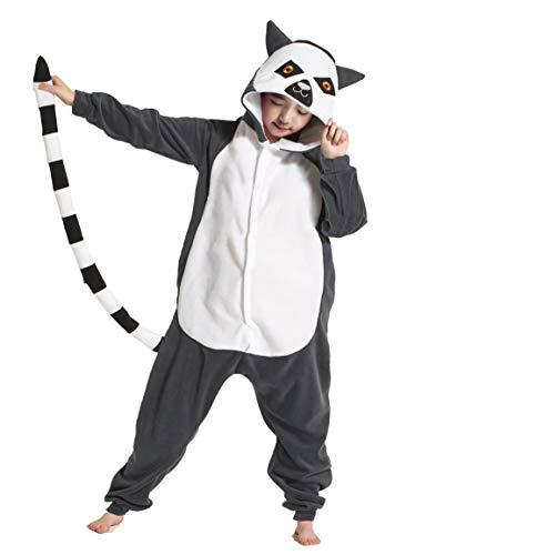 Pyjama Kinder Tier Overall Schlafanzug Lemur Cosplay Kostüm Kigurumi Sleepsuit Unisex Jumpsuit für Hohe 90-148 ()