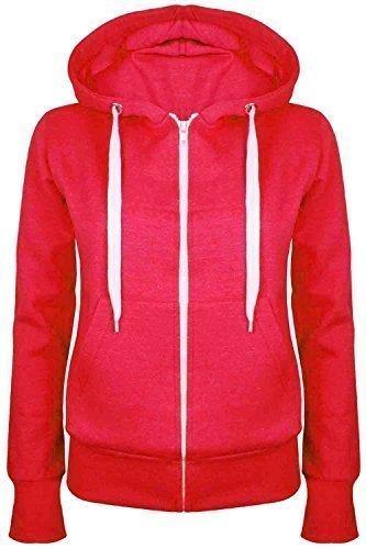Oops Outlet Damen Einfarbig Kapuzenpulli Mädchen Reißverschluss Top Damen Kapuzenpullis Sweatshirt Mantel Jacke Übergröße 6-24 - Rot, Übergröße 3XL (46/48)