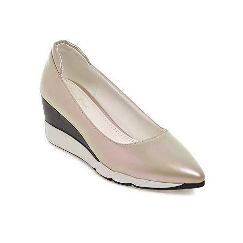 VogueZone009 Femme Pointu Fermeture D'Orteil à Talon Correct Couleur Unie Chaussures Légeres Abricot