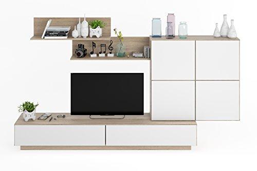Esidra Mobile Soggiorno Parete attrezzata Porta TV, Rovere, 250 x 157 x 42  cm