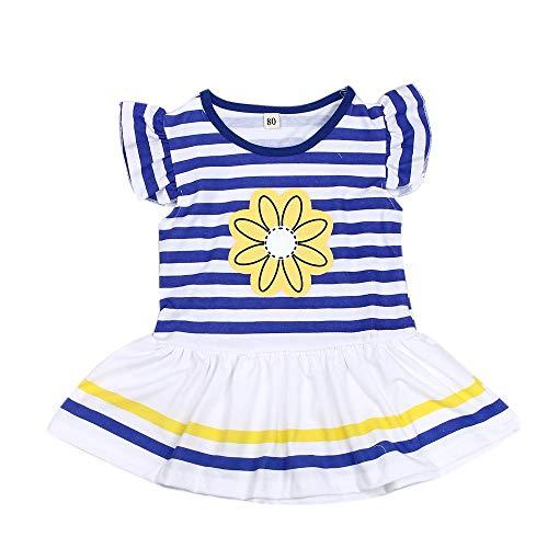 Mädchen Kleidung Set, Evansamp Kinder Mädchen Sommerkleid Mode Daisy Blumendruck Streifenhemd Top Bogen Hose Set Kleidung(Gelb,130) -