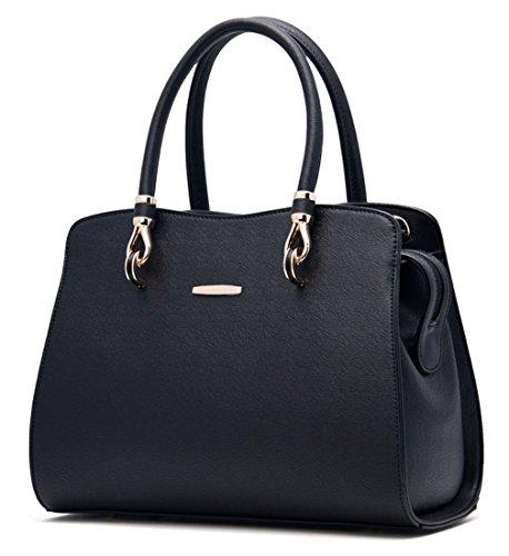 Tibes Art und Weise Tote PU-Handtaschen für Mädchen Schwarz