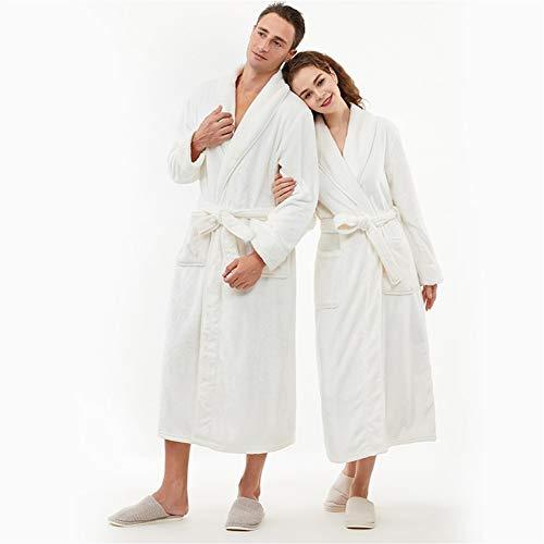RHRSY Männliche Und Weibliche Volle Länge Flauschige Bademantel, Flauschiger Bademantel Pyjama - EIN Bademantel Mantel Lässige Kleidung Vielen Größen Und Farben (Color : White-Women, Size : 175CM)
