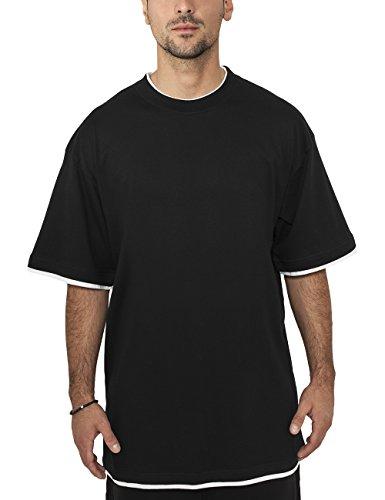 Urban Classics - Bekleidung Contrast Tall Tee, Maglia a maniche lunghe Uomo, Multicolore (Black/White), Large (Taglia Produttore: Large)