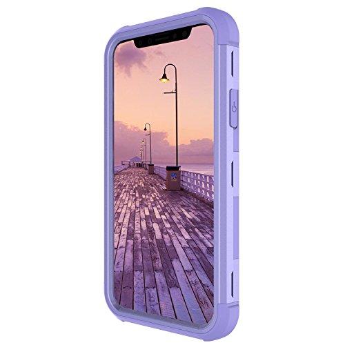 Custodia per Apple iPhone X in Plastica Dura Rigida, Girlyard 3 in 1 Hard PC Ultra Slim Protettiva Posteriore Copertura Bumper Antiurto Antigraffio Case Cover per iPhone X Disegni Grigio Verde Viola Porpora