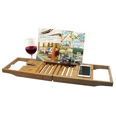 Verstellbares Bambus Badewannen Tablett Badewannen Badewannenbrücke Wannenauflage Weinglashalter...
