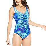 Yvelands Damen Bademode Einteiler Push Up Printed Bikini Strand Badeanzug Bikini Set(CN-XL,Blau)